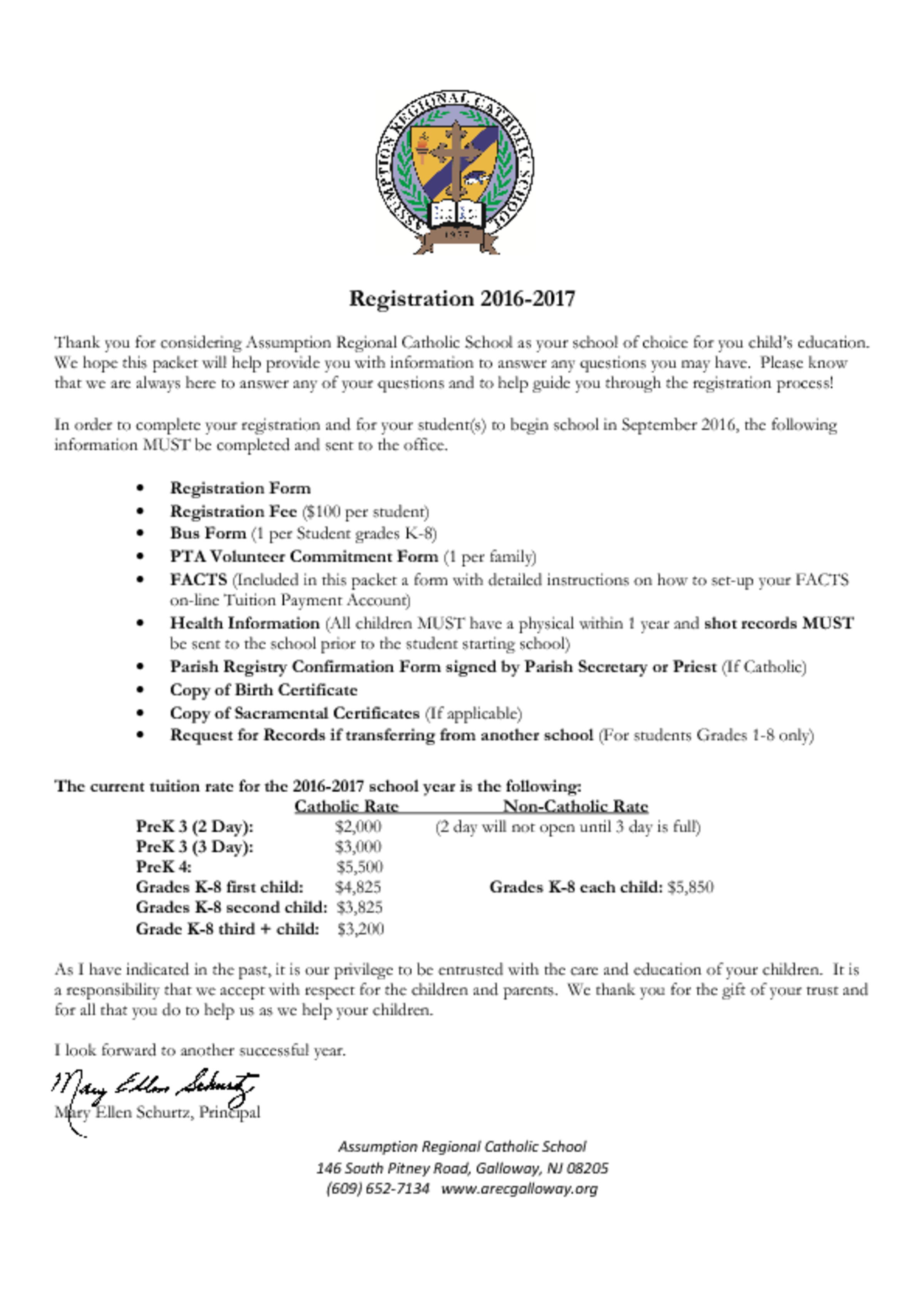 Registration letter new families – Assumption Regional Catholic School