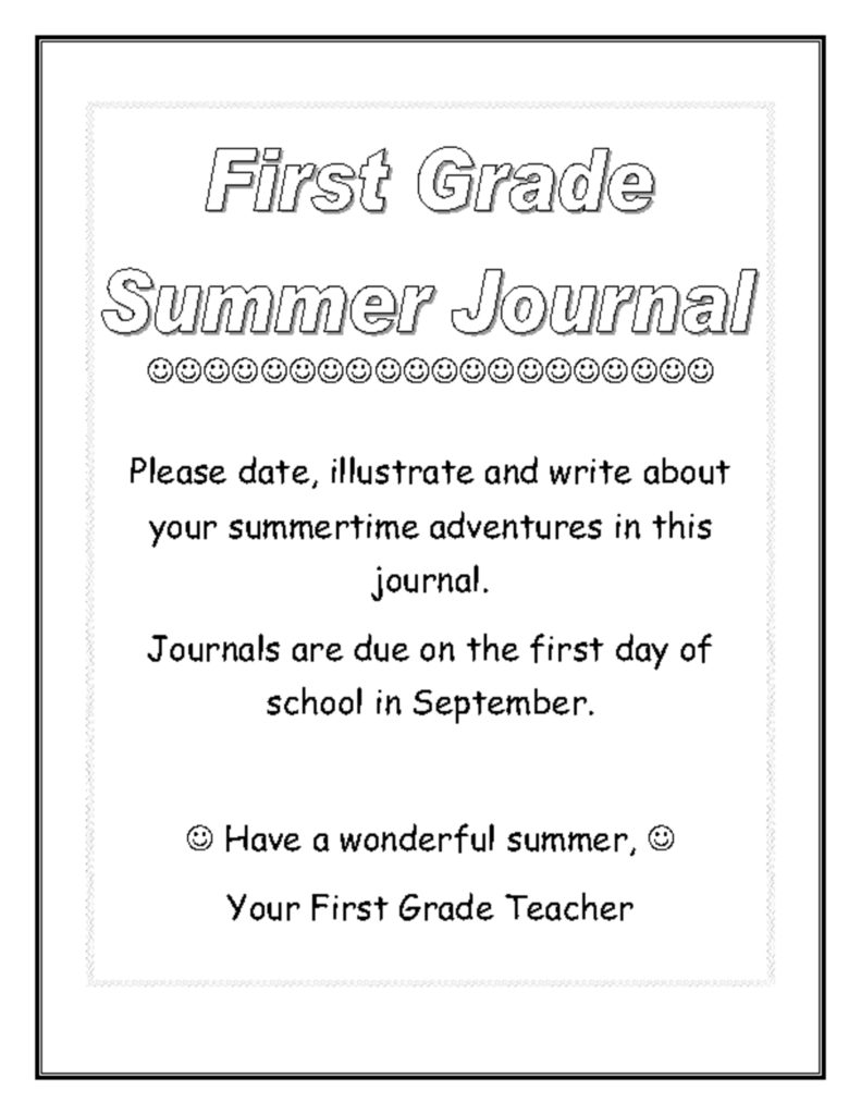 thumbnail of 1st Grade Summer Journal Cover