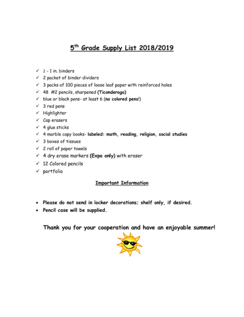 thumbnail of 5th Grade Supply List