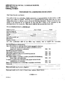 thumbnail of Medication Permission Form