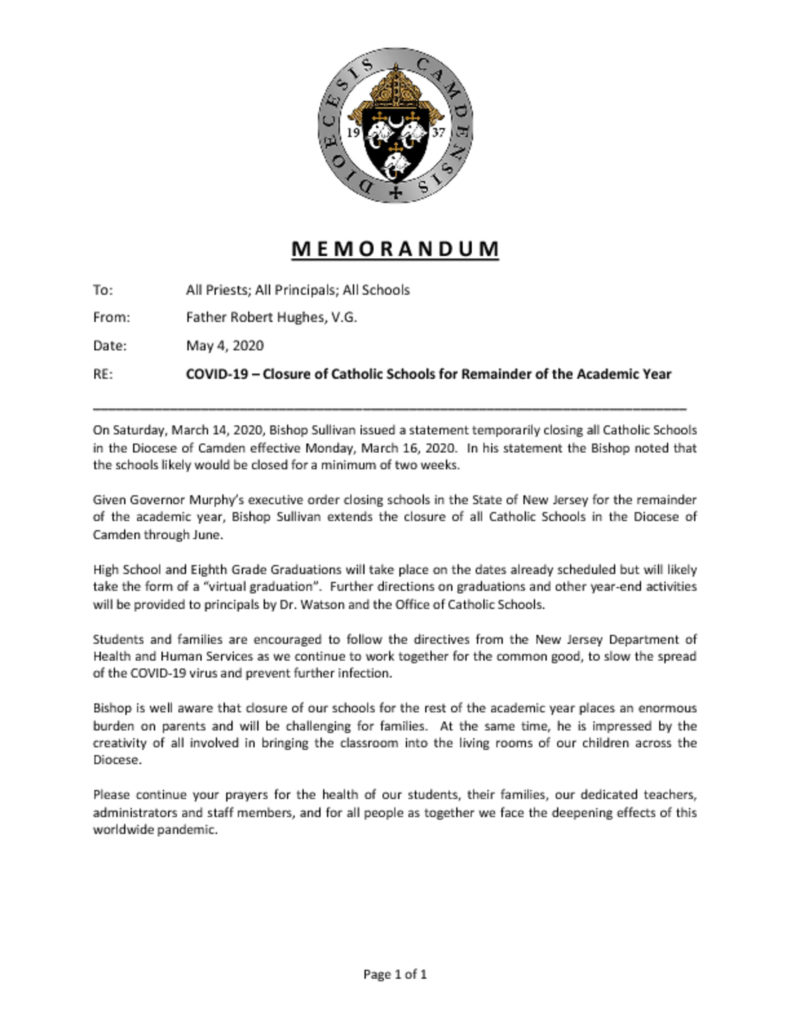 thumbnail of 2020.05.04 – Memo VG to All Schools RE Covid-19 and School Closures